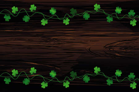 Green festive bunting with clover. Irish holiday - Happy St. Patricks Day with garland of three-leaf. Greeting card, poster, banner. Vector on wooden background Çizim