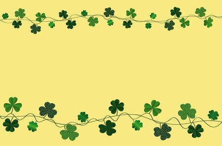 Green festive bunting with clover. Irish holiday - Happy St. Patricks Day with a garland of three-leaf. Greeting card, poster, banner. Vector