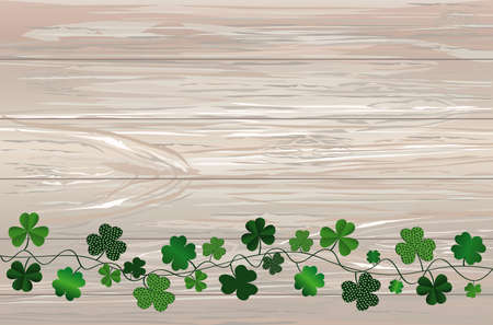 Green festive bunting with clover. Irish holiday - Happy St. Patricks Day with garland of three-leaf. Greeting card, poster, banner. Vector on wooden background Illustration