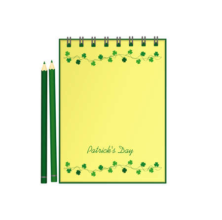 Notebook with template hand-drawn Green festive bunting with clover and pencil. Irish holiday - Happy St. Patrick's Day with a garland of three-leaf. Vector. A realistic notepad. Office stationery.