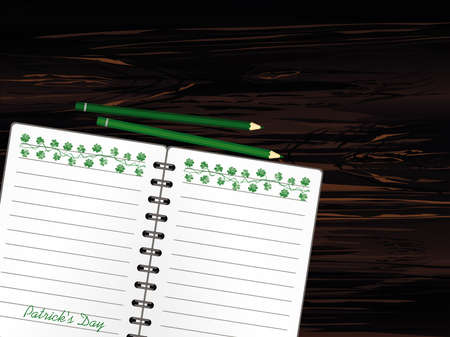 Notebook with template hand-drawn Green festive bunting with clover and pencil. Irish holiday - Happy St. Patricks Day with a garland of three-leaf. Greeting card on holiday. Vector on wooden background