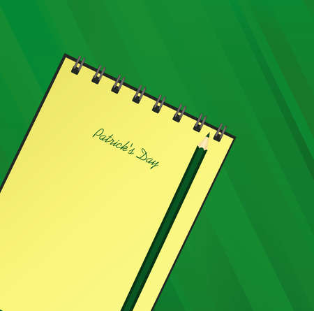 Yellow notebook with template hand-drawn Green festive bunting with clover and pencil. Irish holiday - Happy St. Patricks Day with a garland of three-leaf. Vector on green background