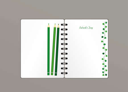 Notebook with template hand-drawn Green festive bunting with clover and pencil. Irish holiday - Happy St. Patrick's Day with a garland of three-leaf. Greeting card on holiday. Vector.