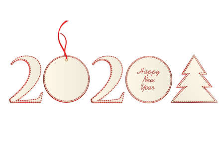 Figures 2020 with christmas ball and tree of paper. New Year, Winter theme. Vector. Greeting card on a white background