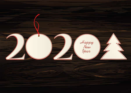 Figures 2020 with christmas ball and tree of paper. New Year, Winter theme. Vector. Greeting card on a wooden background