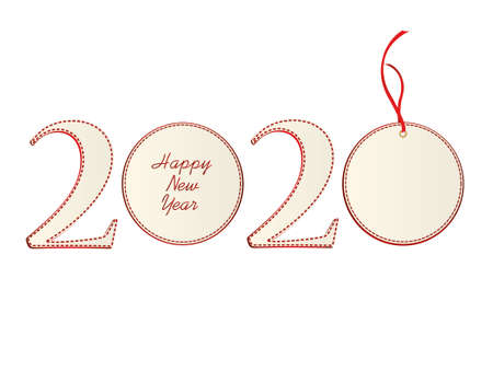 Figures 2020 with christmas ball of paper. New Year, Winter theme. Vector. Greeting card on a white background Illustration