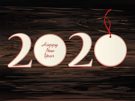 Figures 2020 with christmas ball of paper. New Year, Winter theme. Vector. Greeting card on a wooden background