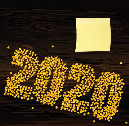 A Christmas the figures 2020 made of confetti. Happy new year winter. Yellow sheet of paper for notes. Sticker. Vector. Greeting card for holiday on a dark wooden background.