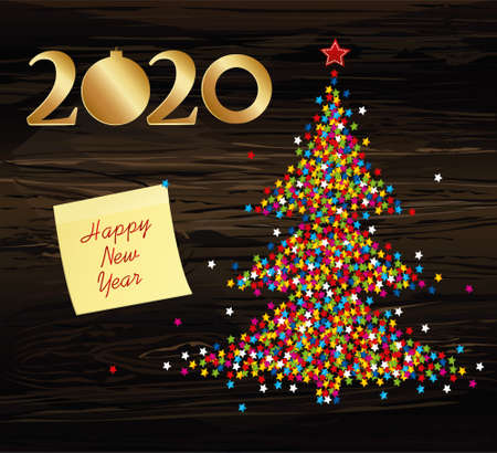 Christmas tree of confetti with figures 2020 golden of paper. New Year, Christmas, winter theme. Vector. Yellow sheet of paper for notes. Sticker. Greeting on holiday on a wooden background