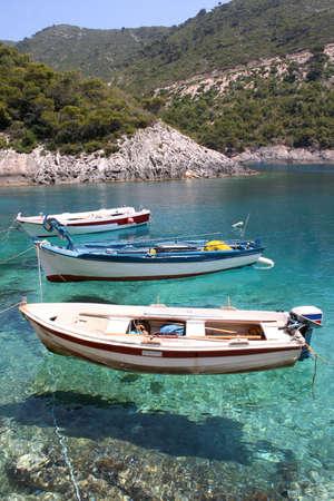 porto: small fishing boats anchored at Porto Vromi, Zante (Zakynthos)
