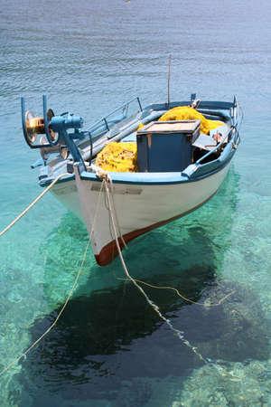 small fishing boat moored at Porto Vromi, Zante (Zakynthos