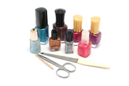 small selection of nail polishesvarnishes and manicure kit photo