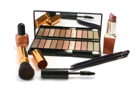 various cosmetics in earthy, autumnal colours photo