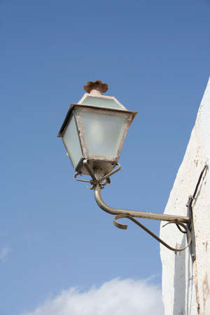 wall mounted: Old fashioned, wall mounted street lamp in Teguise, Lanzarote Stock Photo