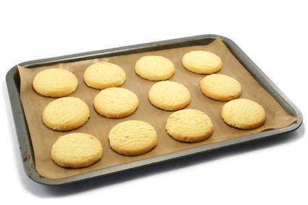 shortbread: all butter shortbread biscuits on a nonstick baking sheet on a baking tray, fresh from the oven