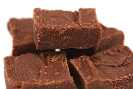 fudge: small pile of handmade, homemade, chocolate fudge - shallow depth of field