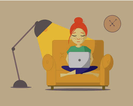 An illustrtion of a red haired girl sitting on a couch with a laptop. Student or freelancer. Illustration
