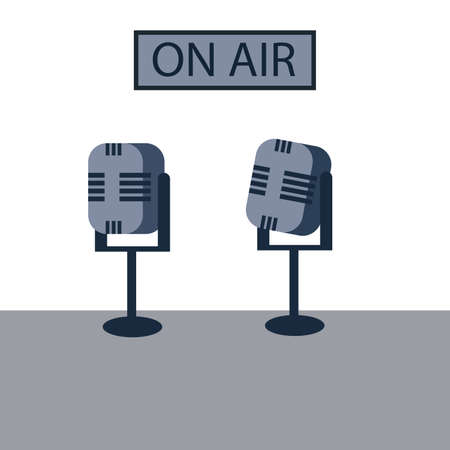 An illustration of two microphones and a On air sign in the background. Podcast concept. Flat design.