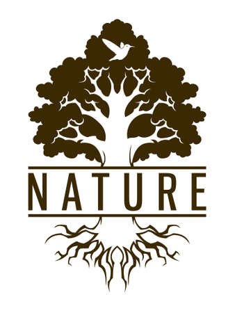One color vector illustration of hummingbird and tree with replaceable text area.