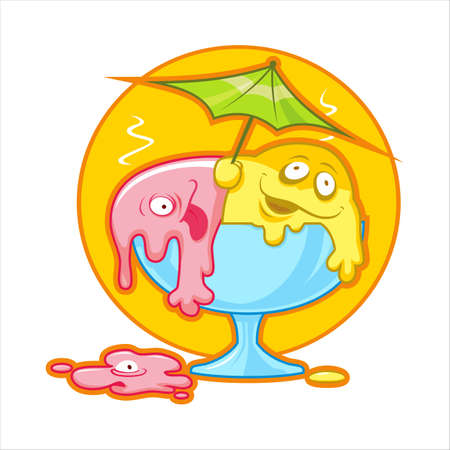 Cartoon vector illustration of colored melting ice cream.
