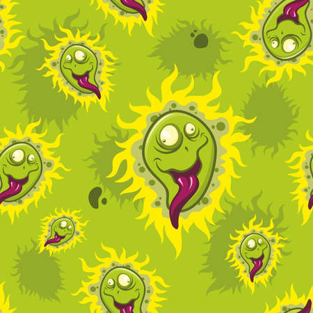Colorful cartoon viruses seamless vector background.  イラスト・ベクター素材