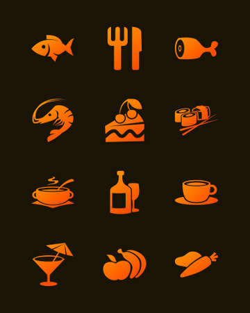 Gradient icons set of various food on a dark background vector illustration.