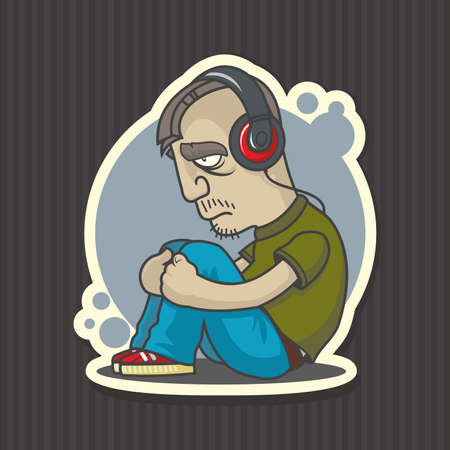 Sad man in headphones listening to the music vector illustration. Ilustração