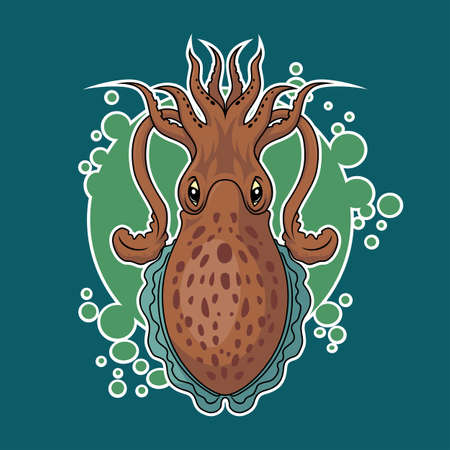 Vector cuttlefish sticker Illustration