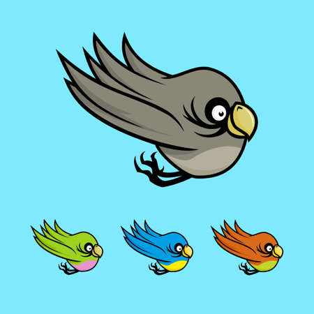 Colored cartoon birds