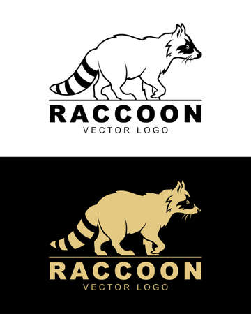 Raccoon vector logo illustration