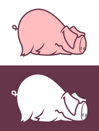 Funny lying pig with ears on eyes. Cute piggy character.