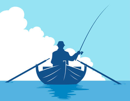 Fisherman in a boat silhouette on blue sky background. Vector illustration of a man fishing in a boat.