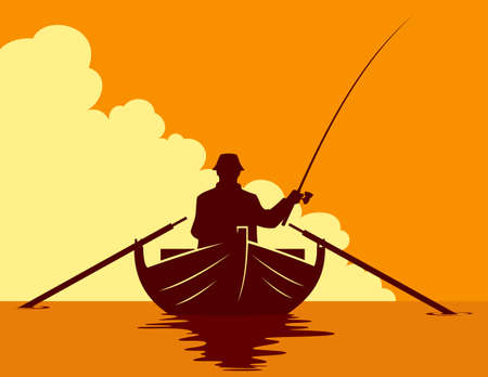 Fisherman in a boat silhouette on sunset background. Vector illustration of a man fishing in a boat.