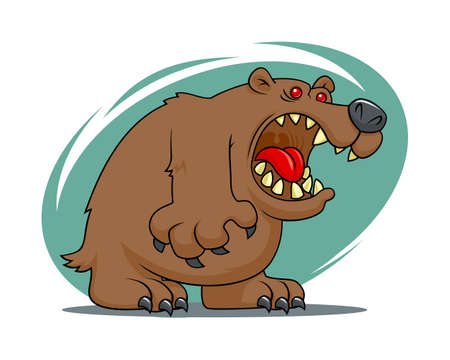 Angry bear cartoon vector illustration. Brown bear mascot. Çizim