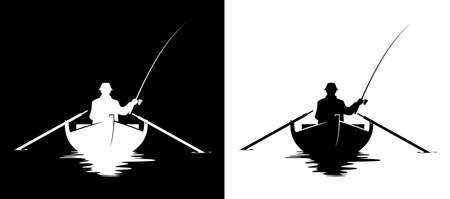 Fisherman in a boat silhouette. Black and white vector illustration of man fishing in a boat. Vettoriali