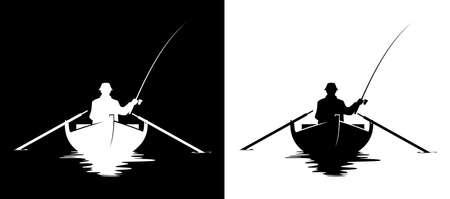 Pescador en una silueta de barco. Ilustración de vector blanco y negro de hombre pescando en un barco. Ilustración de vector