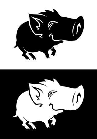 Black and white baby boar silhouette. Vector illustration of a cute piggy or small boar child.
