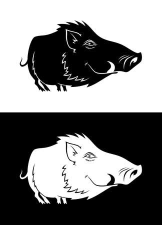 Black and white boar silhouette. Vector illustration of cartoon hog.