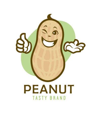 Cartoon winking peanut character