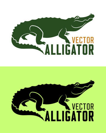 Vector mascot of alligator. Cartoon crocodile silhouette.