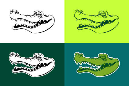 Alligator vector outline silhouettes