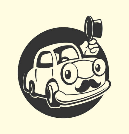 Cartoon car character with a moustache and vintage top hat. Funny retro car icon. Illustration