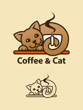 Cute cat character holding a cup of fragrant coffee.