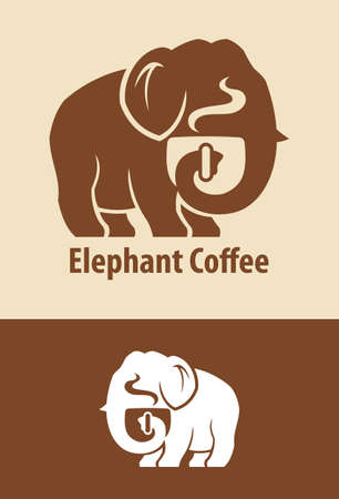 Vector silhouette of elephant character with coffee cup.