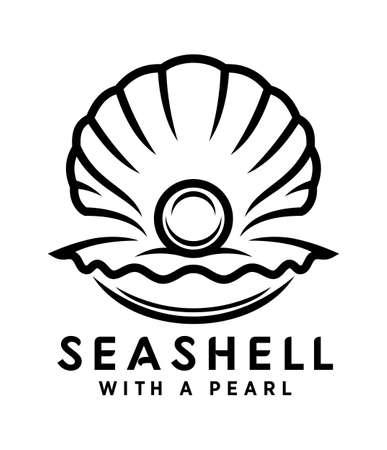 Pearl in sea shell vector icon. Outline silhouette of open seashell with a pearl inside.