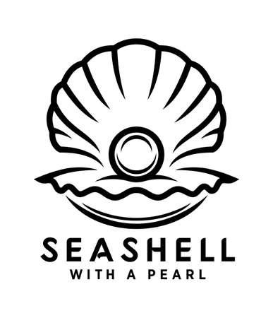 Perla in icona di vettore di conchiglia di mare. Sagoma di contorno di conchiglia aperta con una perla all'interno.