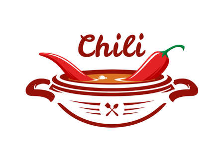 Bowl with boiling hot spicy soup with red chili pepper. Mexican food icon. Çizim
