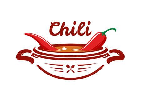 Ciotola con zuppa piccante bollente con peperoncino rosso. Icona di cibo messicano.