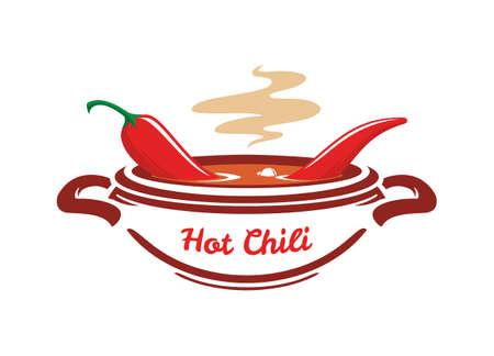 Kook soep met chili peper in een brede pan. Gestileerde icoon van hete pittige gerechten.