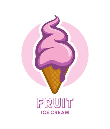 Fruit or berry ice cream in waffle cone. Cartoon ice cream icon. Ilustração